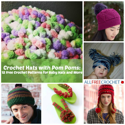 Free Crochet Pattern For Child Slouch Hat : Crochet Hats with Pom Poms: 12 Free Crochet Patterns for ...