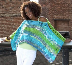 Free Crochet Pattern Multi Colored Hat : Multicolored Poncho AllFreeCrochet.com