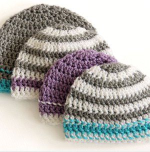 Striped Easy Beanie Crochet Pattern AllFreeCrochet.com
